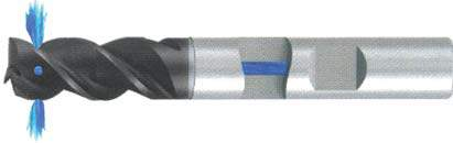 Концевая фреза 3 - зубая для обработки алюминия с подводом СОЖ к каждому зубу d8 h16 z3 - Длинная серия - хвостовик Weldon MPSA.01WLAL.Z03.008SC MPSA заточка и изготовление