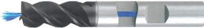 Концевая фреза 3 - зубая для обработки чугунов и закаленных сталей до 55 HRC с центральным подводом СОЖ d8 h16 z3 - Длинная серия - хвостовик Weldon MPSA.01WLCI.Z03.008CC MPSA заточка и изготовление